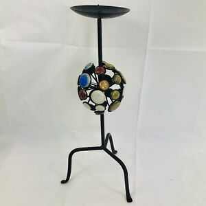 BLACK IRON CANDLE STICK PILLAR HOLDER Stand artsy