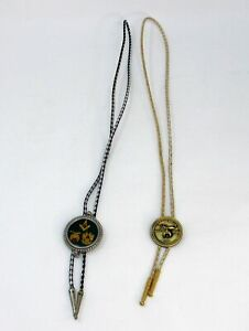 Lot of 2 Vintage Masonic Bolo Ties Ceremonial Murat Shrine 1989 Square & Compass