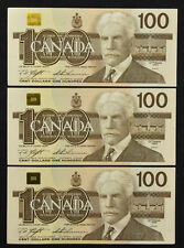 Lot of 3 Consecutive 1988 Bank of Canada $100 Knight Thiessen Nice original AU's