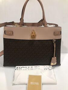Michael Kors Satchel Large Leather Signature Gramercy Handbag (Brown Pink)