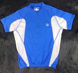 Canari Men's Full Zip Bike Cycling Jersey SZ(M) Blue White