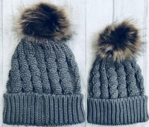 FAMILY MATCHING BOBBLE HAT, Grey Mummy or Daddy and Baby Hat Set, Winter Hat