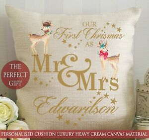 Personalised First Christmas as Cushion 1st Deer Married Mr & Mrs Gift Newlyweds