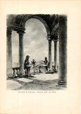 Stampa antica MOMBELLO IMBERSAGO Villa Falcò porticato Lecco 1931 Old print