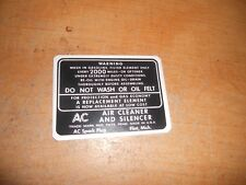 1937 - 1950 PACKARD DRY STYLE AIR CLEANER DECAL