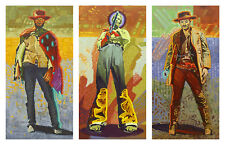 """Neon Gunslingers Triptych"" Michael Blessing Fine Art Edition Giclee Canvas Set"