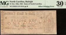 1861 $1 DOLLAR OFFSET PRINT ERROR NORTH CAROLINA NOTE OLD PAPER MONEY PMG 30 EPQ