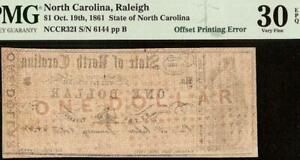 1861 $1 DOLLAR OFFSET PRINT ERROR NORTH CAROLINA NOTE OLD PAPER MONEY PMG 30 EPQ