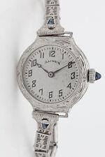Vintage Illinois 14k White Gold Blue Saphire Filigree Ladies Watch WARRANTY