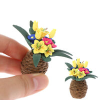 1:12 DollHouse Miniature Flowers Ornament Mini Potted Plant Flowers Pot Dec FT