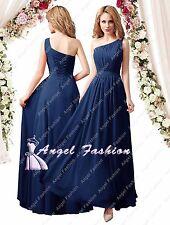 c194c0d9eca54 Stock One Shoulder Long Lace Chiffon Bridesmaid Wedding Prom Evening Party Dress  Navy 20
