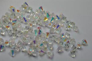 125 Swarovski Vintage 6.6x6mm Crystal AB Tapered Bicone Beads #5400 -V4495
