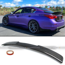 For 14-20 Q50 Glossy Carbon Fiber JDM VIP Style Rear Window Roof Spoiler Wing