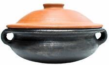 New listing Handmade Terracotta Black Wok Kadai Unglazed 3.5 Ltr Clay Cooking Pot with Lid