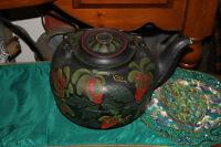 Antique Cast Iron Tea Kettle Hand Painted Strawberries LARGE #6 Country Decor