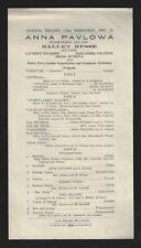 Incomparable ANNA PAVLOWA (Pavlova) Ballet Russe 1919 Utica, New York Program