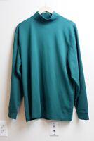 LL BEAN Turtle Neck Sweater Men's L Green 100% Cotton NWOT