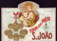 VINHO do PORTO S.JOÃO = St.John PORT WINE. Vintage Label embossed gold medals