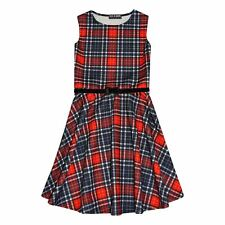 Girls Skater Dress Kids Red & Black Tartan Print Summer Party Dresses 7-13 Years