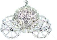 Silver Rhinestone Princess Cinderella Crystal Pumpkin Carriage Jewelry Box