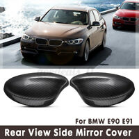 Pair Carbon Fiber Look For BMW E90 E91 2005-2008 Side Rearview Mirror Cover Cap