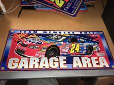 Jeff Gordon 2001 NASCAR Racing USED Plastic Sign Garage Area Team Members Only