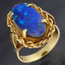 Vibrant Solid 18k YELLOW GOLD OVAL OPAL TRIPLET Right Hand COCKTAIL RING Sz N