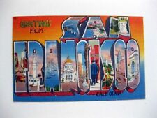 Vintage 1954 Greetings From San Francisco Large Letter Postcard Cool!