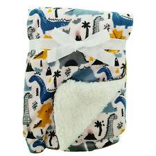 Dinosaur Pink Mink Sherpa Fleece Baby Crib Pram Moses Blanket 75 x 100 cm