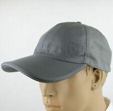 New Gucci Gray Leather and Cotton Baseball Cap Hat w/Interlocking G 337798 1217