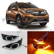 2x Yellow LED Daytime Running Lamp DRL Fog Lamp Bezel For Honda BR-V BRV 12-16 k