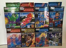 Set of 8 x Marvel Avengers DC Super Hero Mini Figure  Fits Lego New Free PP