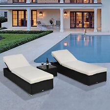 Outsunny 3pcs Rattan Lounge Set Rattan Wicker Chaise Sofa Table Set