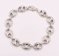 14mm Puffed Gucci Anchor Mariner Link Bracelet 14K White Gold Clad Silver 925