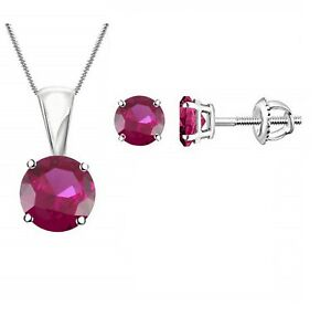 """Round Pink Ruby Solitaire Earring & Pendant 18"""" Jewelry Set 14k White Gold Over"""