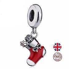 * Reino Unido * Navidad Stocking Real 925 Plata pulsera con dijes de Abalorios Colgante Regalo