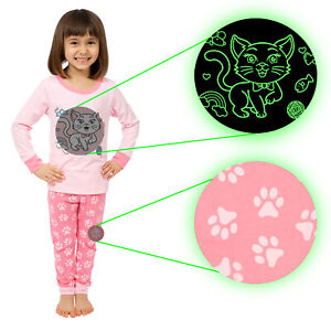Little Jupiter Girl Pajamas with Glow in The Dark - Cat Pink