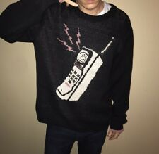 New Mens Cordless Phone Urban Outfitters Sweater Graphic Logo Crew Large Unique