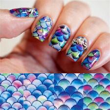 Full Wrap Water Transfers Nail Art Stickers Decals Ocean BLUE Mermaid Nails B159