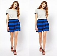 French Connection Toledo Stripe Mini Skirt Blue  Size UK 16