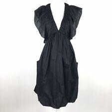 Tony Cohen Dress Size 2 Black Cotton Silk Ruffle A-Line Big Pockets Smocked