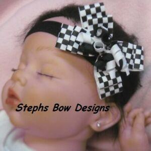 Black White Checkered Flag Layered Korker Hair Bow Headband 4 Preemie to Toddler