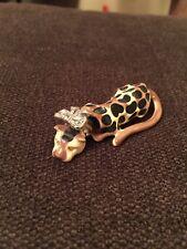 KLJ Kenneth Jay Lane Figural Enamel Leopard Rhinestone Bow Brooch/Pin