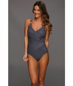 Spanx Swimsuit Women 8 Gray Ruched Crisscross Whittle Waistline Draped One-Piece