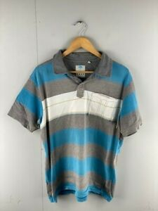 Fat Face Mens Grey Blue Striped Cotton Pocket Short Sleeve Polo Shirt Size Large