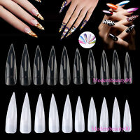 10~500 PCS Short / Long Sharp False Nail Art Tips Acrylic Salon Tool 10 Sizes
