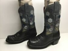 VTG WOMENS ARIAT SQUARE TOE COWBOY SNAKE PRINT BLACK BOOTS SIZE 5.5 B