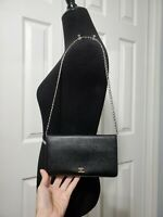 CHANEL leather LONG WALLET BLACK revamped WOC wallet on chain - US Seller