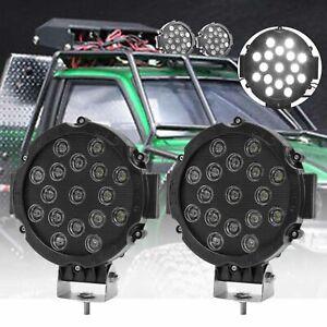 "2x 7"" 51W Round LED Work Light Bar Spot Flood Fog Driving Lamp Offroad SUV Truck"