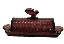 CIRCLEWARE GLASS BUTTER DISH AMETHYST / PURPLE BUTTERFLY COLLECTION